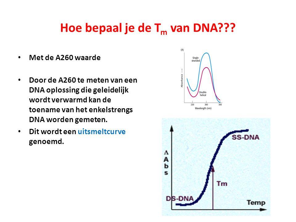 Hoe bepaal je de T m van DNA??? Met de A260 waarde Door de A260 te meten van een DNA oplossing die geleidelijk wordt verwarmd kan de toename van het e