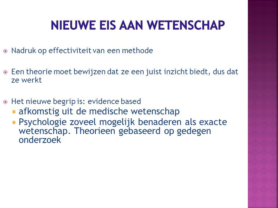  Nadruk op effectiviteit van een methode  Een theorie moet bewijzen dat ze een juist inzicht biedt, dus dat ze werkt  Het nieuwe begrip is: evidenc