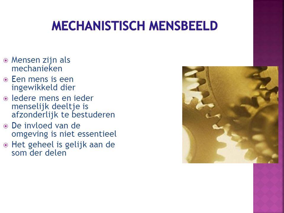  Mensen zijn als mechanieken  Een mens is een ingewikkeld dier  Iedere mens en ieder menselijk deeltje is afzonderlijk te bestuderen  De invloed v