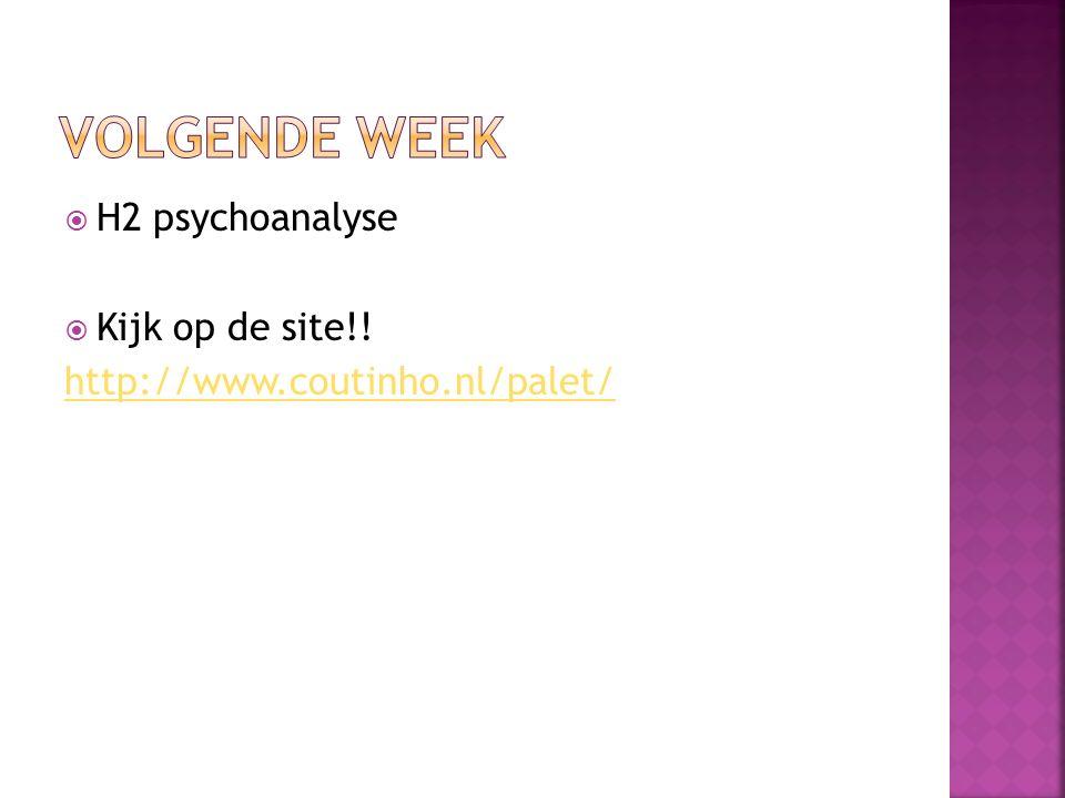  H2 psychoanalyse  Kijk op de site!! http://www.coutinho.nl/palet/