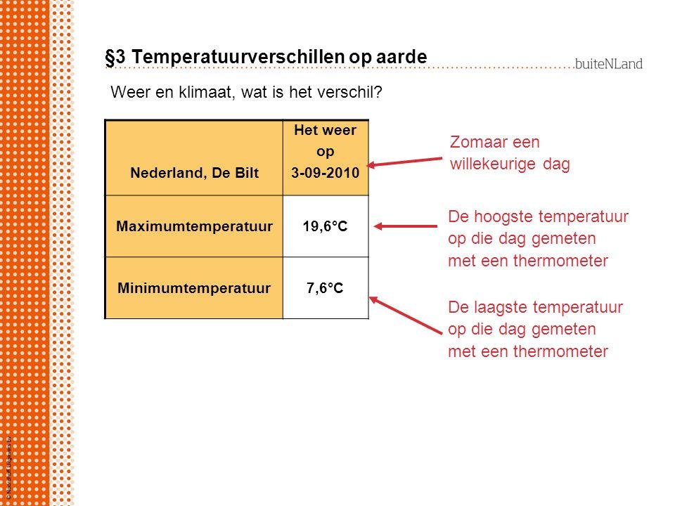 Nederland, De Bilt Het weer op 3-09-2010 Maximumtemperatuur19,6°C Minimumtemperatuur7,6°C Weer en klimaat, wat is het verschil? De hoogste temperatuur