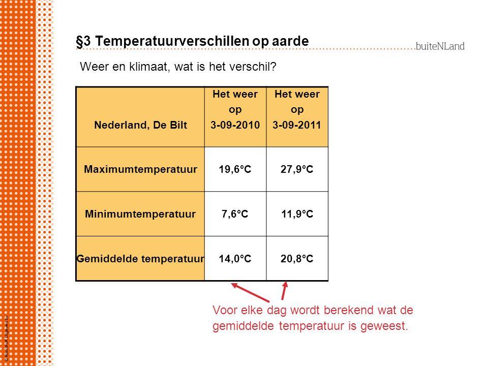 §3 Temperatuurverschillen op aarde Nederland, De Bilt Het weer op 3-09-2010 Het weer op 3-09-2011 Maximumtemperatuur19,6°C27,9°C Minimumtemperatuur7,6