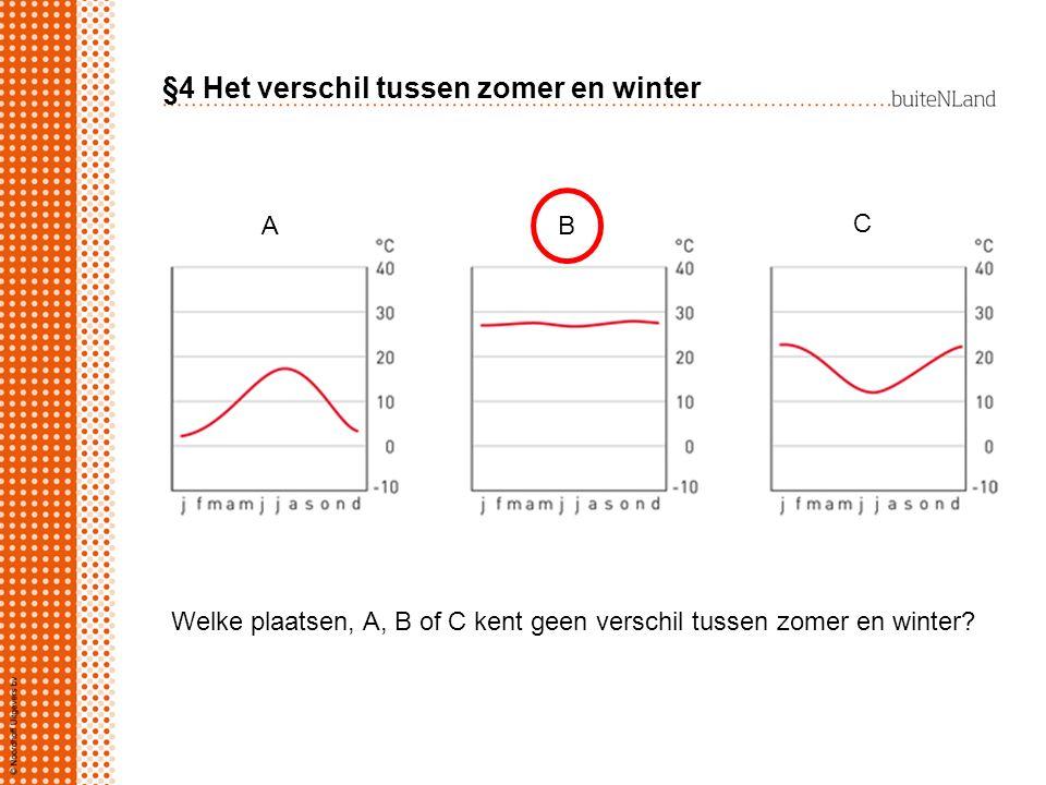 AAAA §4 Het verschil tussen zomer en winter AB C Welke plaatsen, A, B of C kent geen verschil tussen zomer en winter?