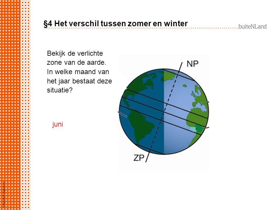 §4 Het verschil tussen zomer en winter Bekijk de verlichte zone van de aarde. In welke maand van het jaar bestaat deze situatie? juni
