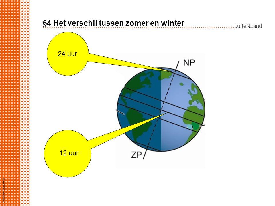§4 Het verschil tussen zomer en winter 24 uur 12 uur