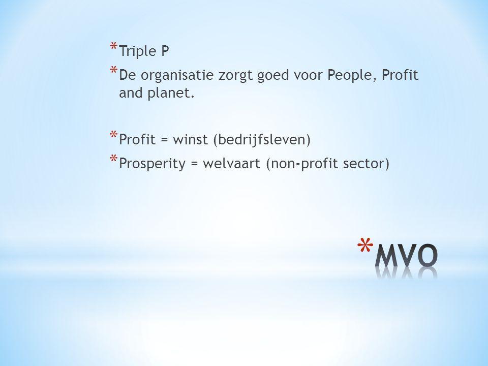 * Triple P * De organisatie zorgt goed voor People, Profit and planet.