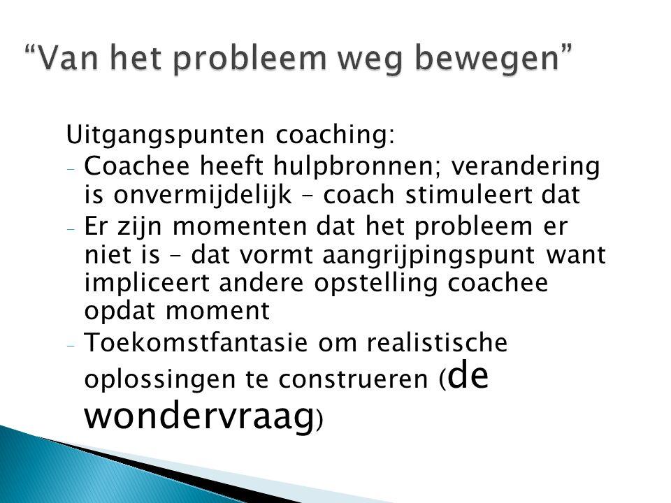 Uitgangspunten coaching: - Coachee heeft hulpbronnen; verandering is onvermijdelijk – coach stimuleert dat - Er zijn momenten dat het probleem er niet