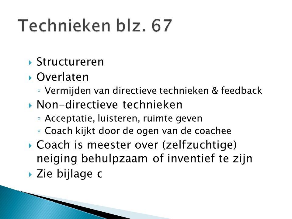  Structureren  Overlaten ◦ Vermijden van directieve technieken & feedback  Non-directieve technieken ◦ Acceptatie, luisteren, ruimte geven ◦ Coach