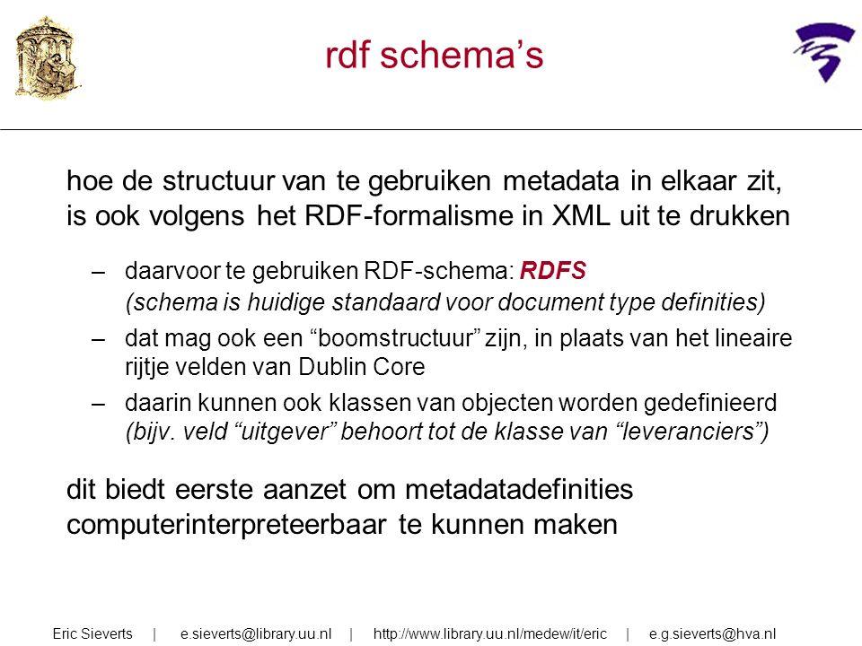 rdf schema's hoe de structuur van te gebruiken metadata in elkaar zit, is ook volgens het RDF-formalisme in XML uit te drukken –daarvoor te gebruiken RDF-schema: RDFS (schema is huidige standaard voor document type definities) –dat mag ook een boomstructuur zijn, in plaats van het lineaire rijtje velden van Dublin Core –daarin kunnen ook klassen van objecten worden gedefinieerd (bijv.