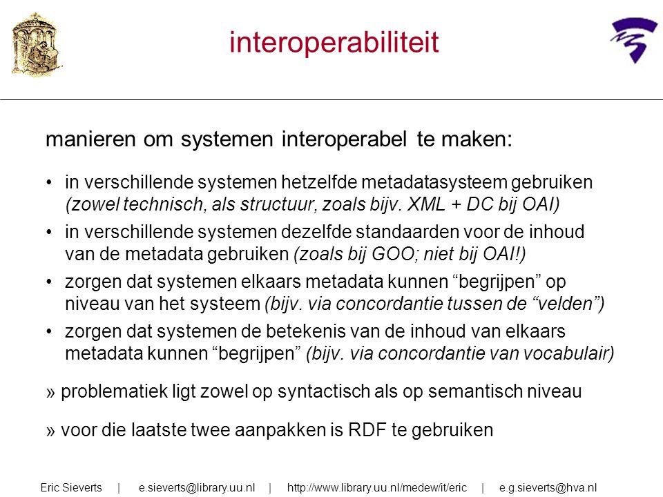 interoperabiliteit manieren om systemen interoperabel te maken: in verschillende systemen hetzelfde metadatasysteem gebruiken (zowel technisch, als structuur, zoals bijv.