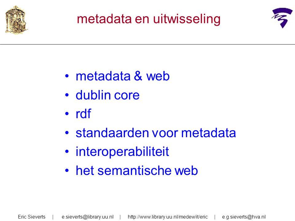 metadata & web dublin core rdf standaarden voor metadata interoperabiliteit het semantische web Eric Sieverts | e.sieverts@library.uu.nl | http://www.library.uu.nl/medew/it/eric | e.g.sieverts@hva.nl metadata en uitwisseling