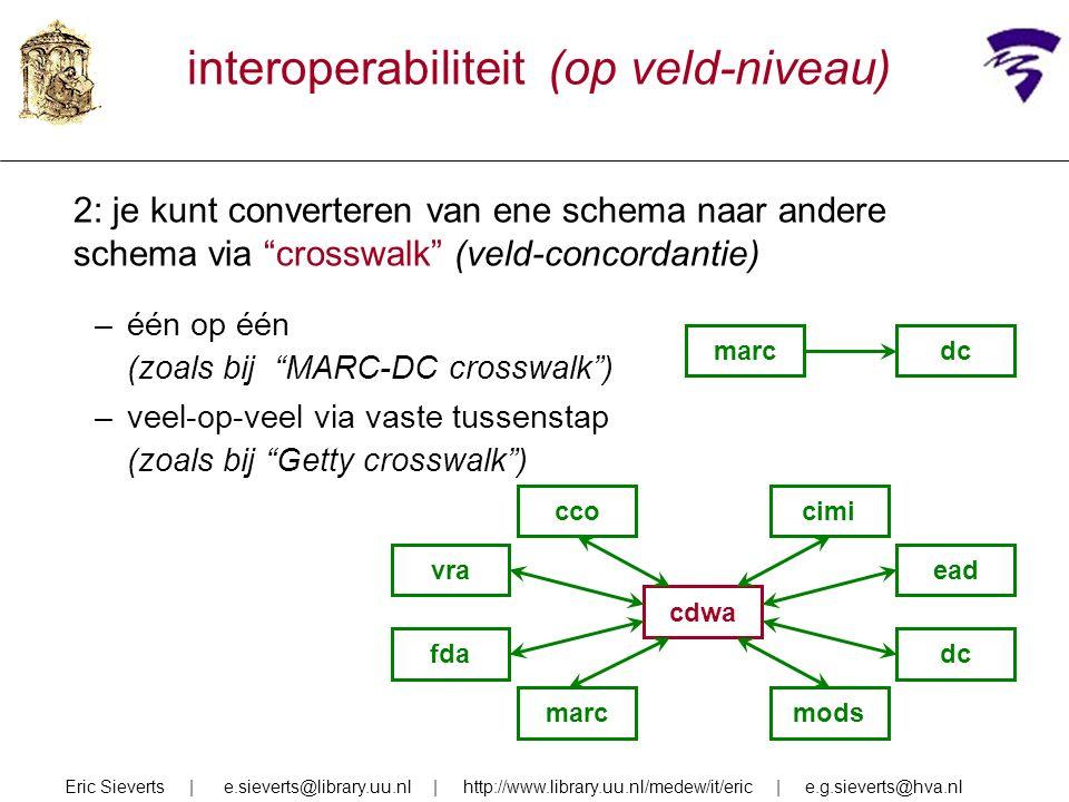 interoperabiliteit (op veld-niveau) 2: je kunt converteren van ene schema naar andere schema via crosswalk (veld-concordantie) –één op één (zoals bij MARC-DC crosswalk ) –veel-op-veel via vaste tussenstap (zoals bij Getty crosswalk ) Eric Sieverts | e.sieverts@library.uu.nl | http://www.library.uu.nl/medew/it/eric | e.g.sieverts@hva.nl cdwa cco vra marc cimi dc mods ead fda marcdc