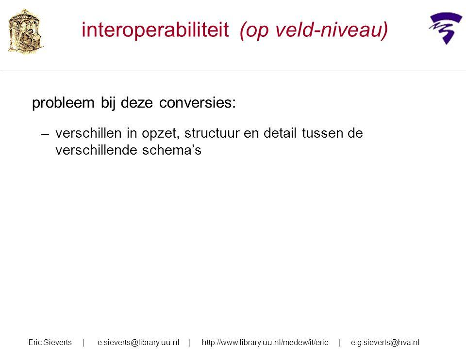 interoperabiliteit (op veld-niveau) probleem bij deze conversies: –verschillen in opzet, structuur en detail tussen de verschillende schema's Eric Sieverts | e.sieverts@library.uu.nl | http://www.library.uu.nl/medew/it/eric | e.g.sieverts@hva.nl