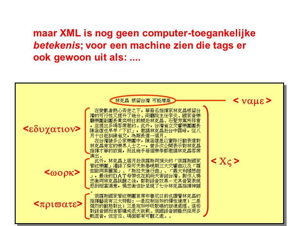 CV name education work private maar XML is nog geen computer-toegankelijke betekenis; voor een machine zien die tags er ook gewoon uit als:....