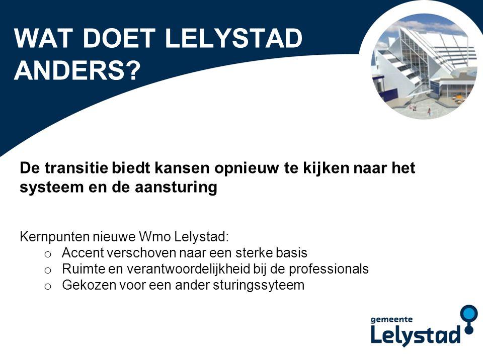 PowerPoint presentatie Lelystad WAT DOET LELYSTAD ANDERS? De transitie biedt kansen opnieuw te kijken naar het systeem en de aansturing Kernpunten nie
