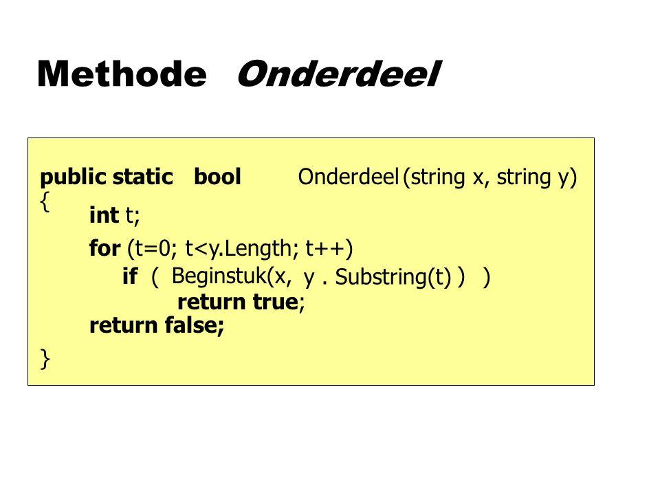 Methode Onderdeel (string x, string y)boolpublic static {}{} Onderdeel y.