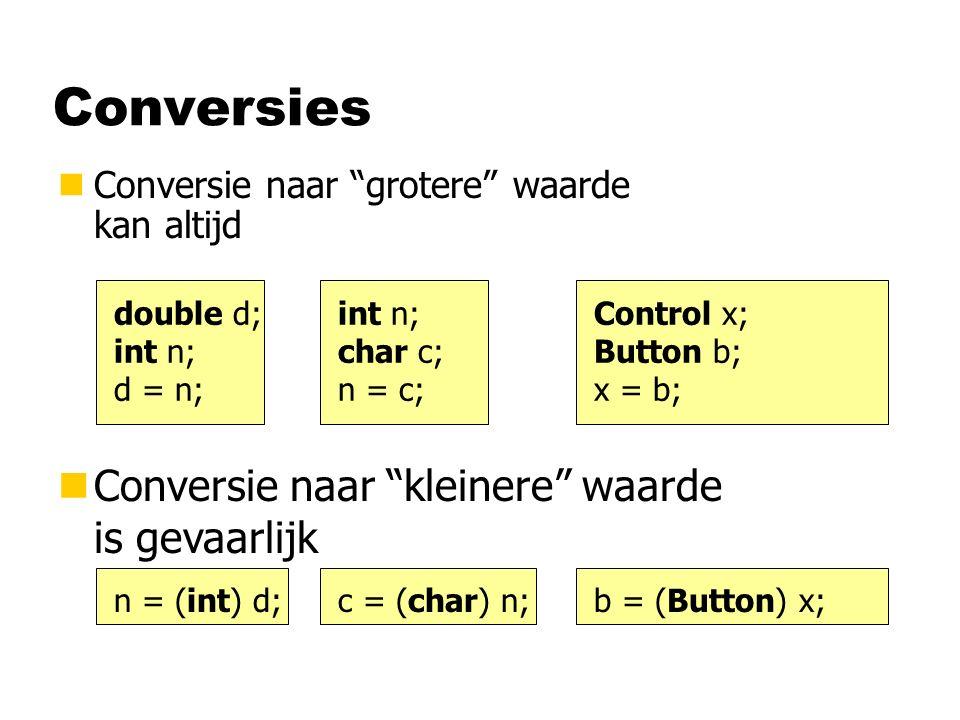 Conversies nConversie naar grotere waarde kan altijd double d; int n; d = n; int n; char c; n = c; Control x; Button b; x = b; nConversie naar kleinere waarde is gevaarlijk n = (int) d;c = (char) n;b = (Button) x;