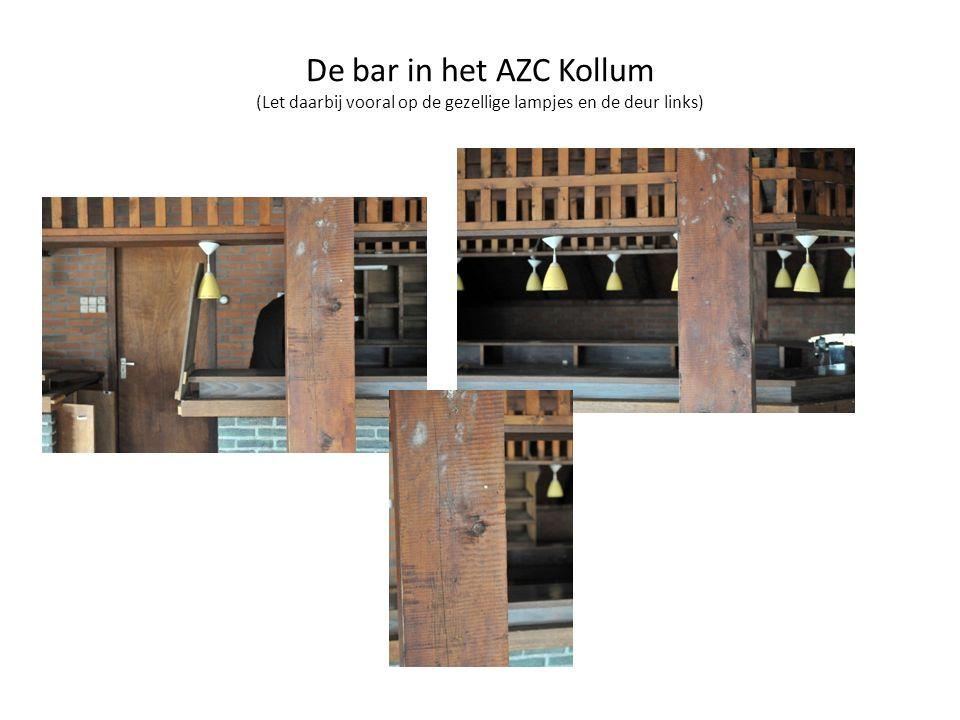 De bar in het AZC Kollum (Let daarbij vooral op de gezellige lampjes en de deur links)