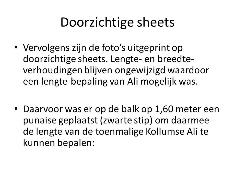 Doorzichtige sheets Vervolgens zijn de foto's uitgeprint op doorzichtige sheets.