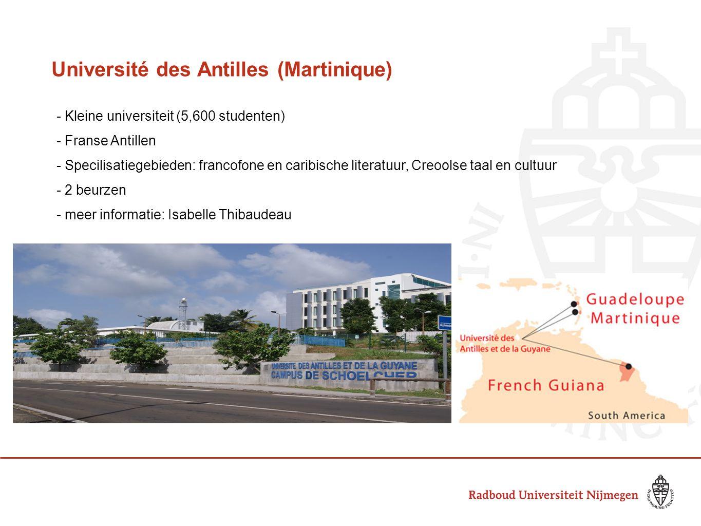 Université des Antilles (Martinique) - Kleine universiteit (5,600 studenten) - Franse Antillen - Specilisatiegebieden: francofone en caribische litera