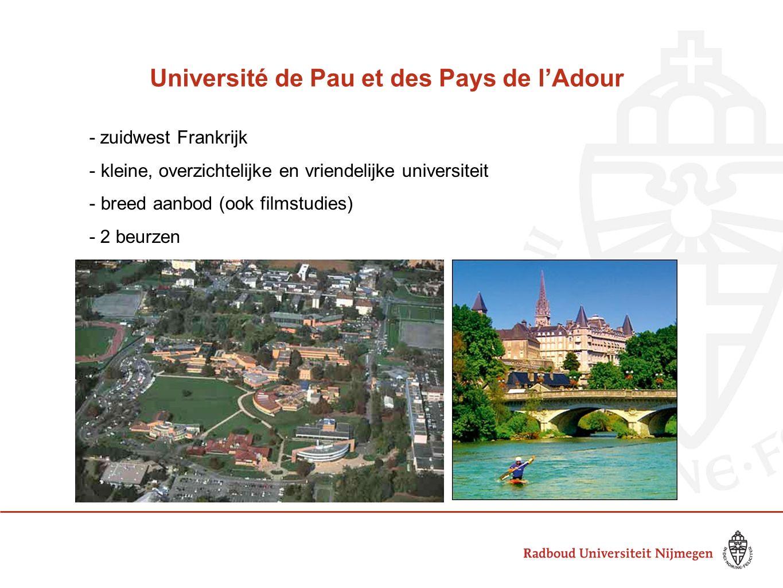 Université de Pau et des Pays de l'Adour - zuidwest Frankrijk - kleine, overzichtelijke en vriendelijke universiteit - breed aanbod (ook filmstudies)