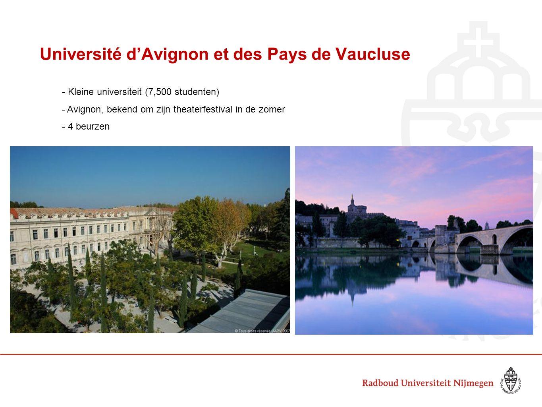 Université d'Avignon et des Pays de Vaucluse - Kleine universiteit (7,500 studenten) - Avignon, bekend om zijn theaterfestival in de zomer - 4 beurzen