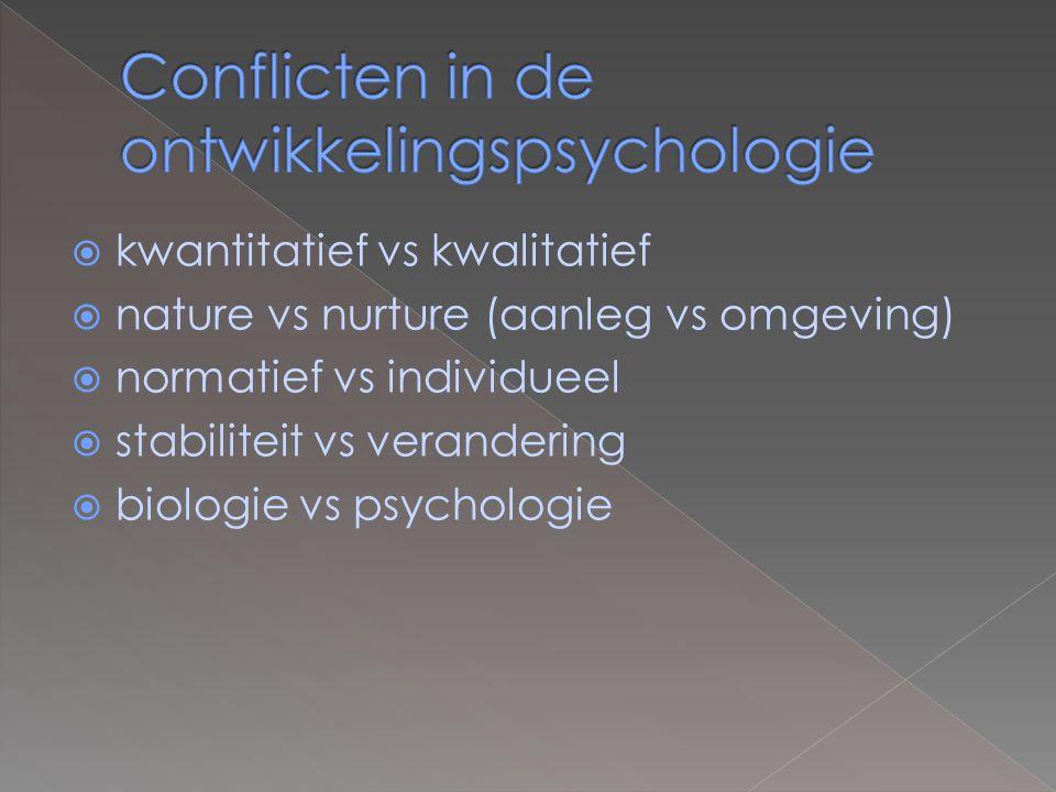  kwantitatief vs kwalitatief  nature vs nurture (aanleg vs omgeving)  normatief vs individueel  stabiliteit vs verandering  biologie vs psychologie