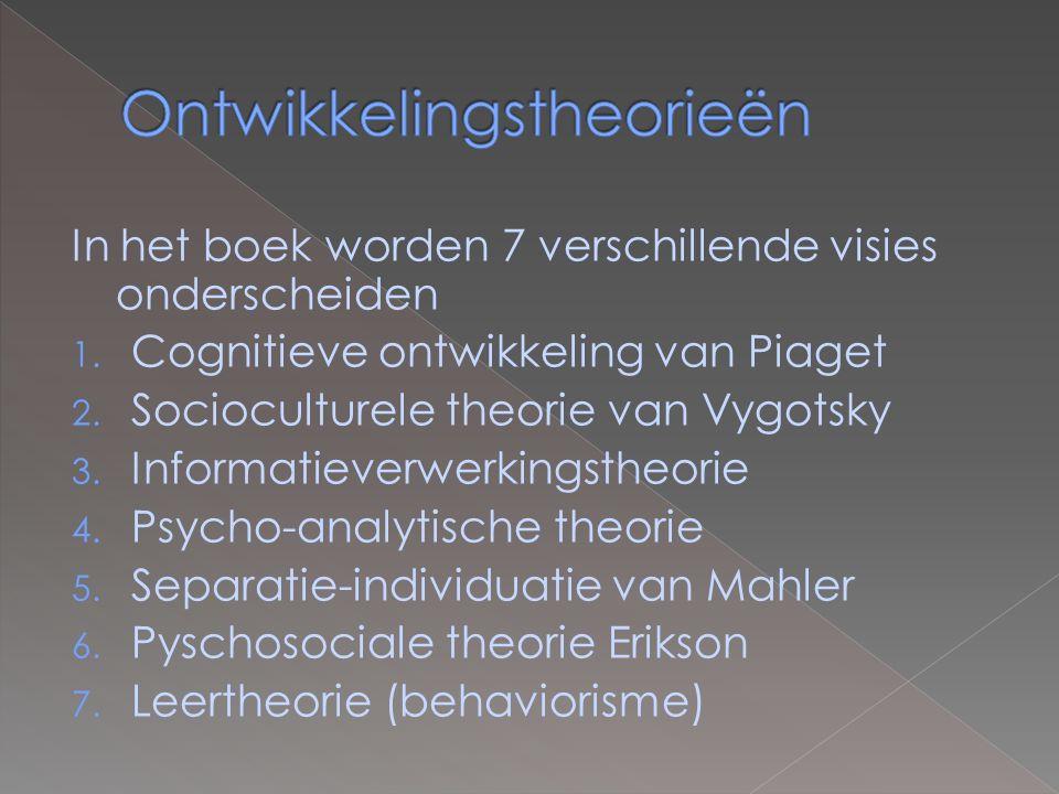 In het boek worden 7 verschillende visies onderscheiden 1. Cognitieve ontwikkeling van Piaget 2. Socioculturele theorie van Vygotsky 3. Informatieverw