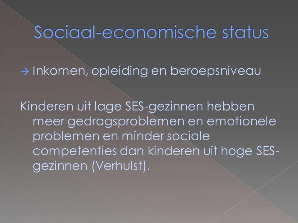  Inkomen, opleiding en beroepsniveau Kinderen uit lage SES-gezinnen hebben meer gedragsproblemen en emotionele problemen en minder sociale competenties dan kinderen uit hoge SES- gezinnen (Verhulst).