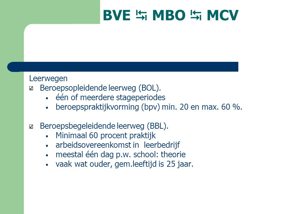BVE  MBO  MCV Leerwegen Beroepsopleidende leerweg (BOL).