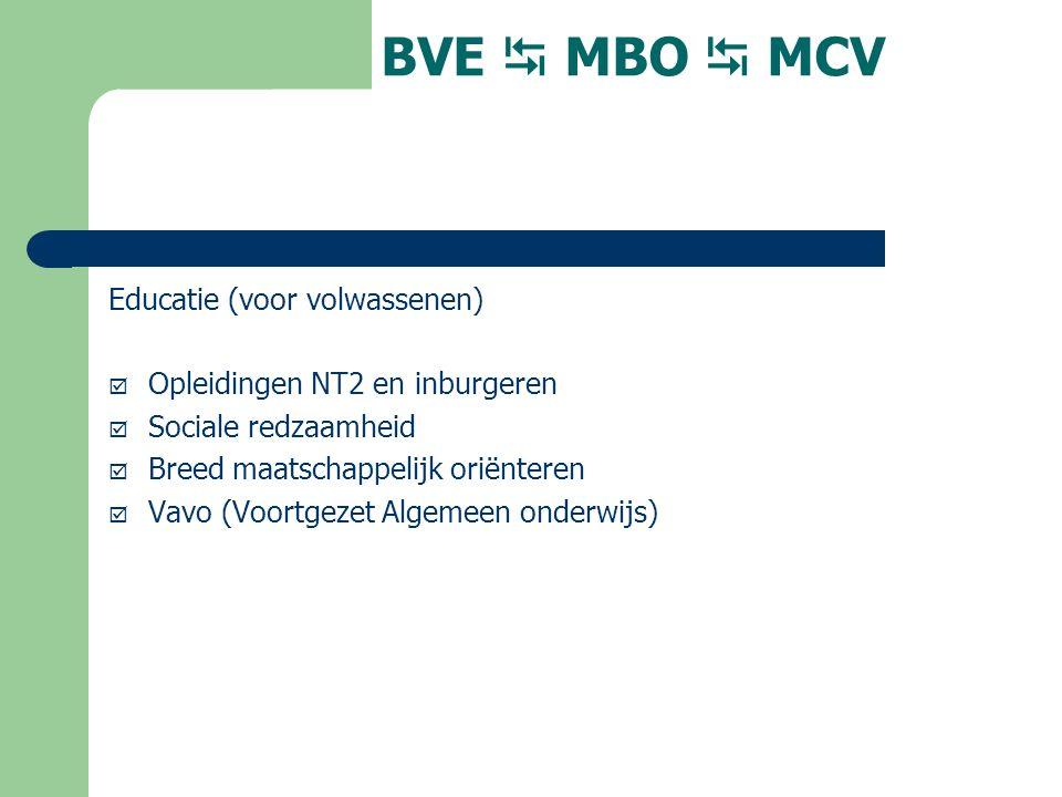 BVE  MBO  MCV Educatie (voor volwassenen)  Opleidingen NT2 en inburgeren  Sociale redzaamheid  Breed maatschappelijk oriënteren  Vavo (Voortgezet Algemeen onderwijs)