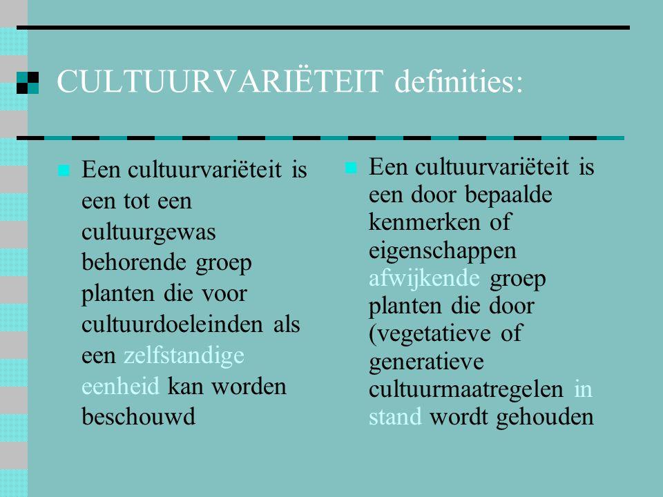 11.Benaming van cultivars Bijzonderheden: Vroeger hybridesoortnamen (zónder cv.