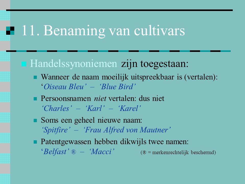 11. Benaming van cultivars Handelssynoniemen zijn toegestaan: Wanneer de naam moeilijk uitspreekbaar is (vertalen): 'Oiseau Bleu' – 'Blue Bird' Persoo