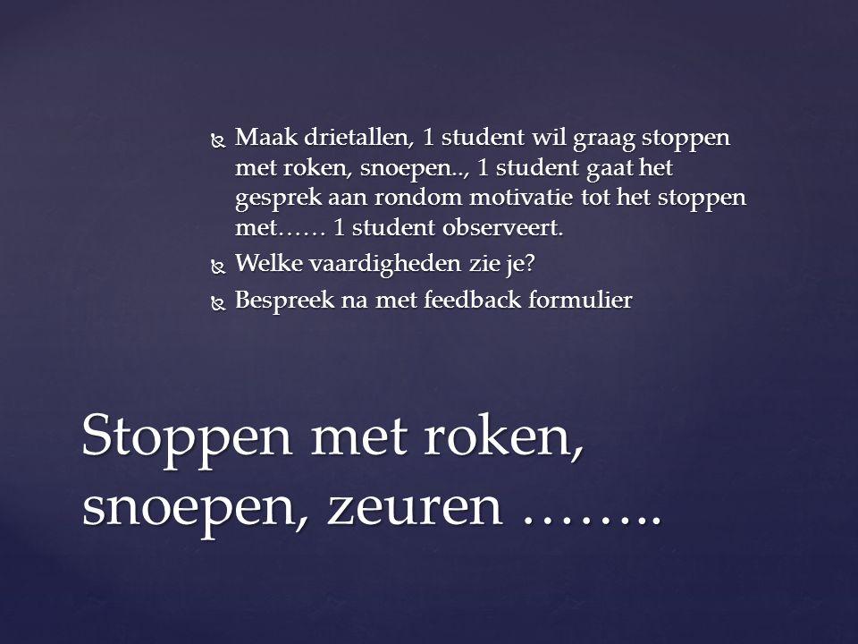 Maak drietallen, 1 student wil graag stoppen met roken, snoepen.., 1 student gaat het gesprek aan rondom motivatie tot het stoppen met…… 1 student o