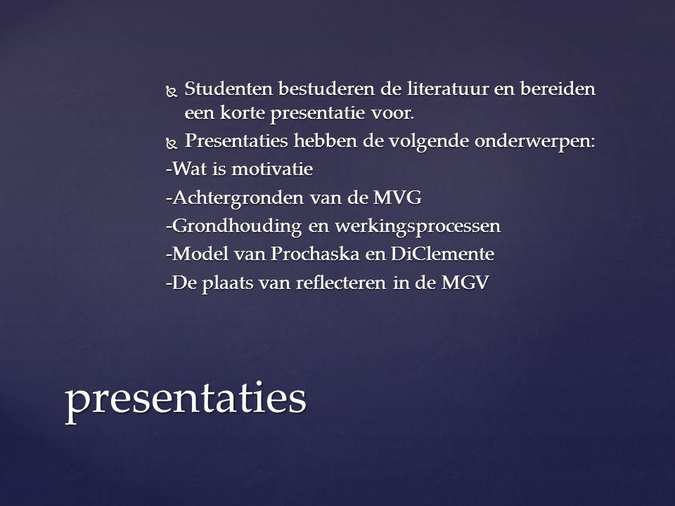  Studenten bestuderen de literatuur en bereiden een korte presentatie voor.  Presentaties hebben de volgende onderwerpen: -Wat is motivatie -Achterg