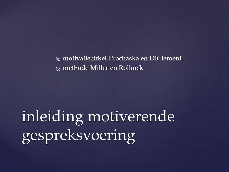  motivatiecirkel Prochaska en DiClement  methode Miller en Rollnick inleiding motiverende gespreksvoering