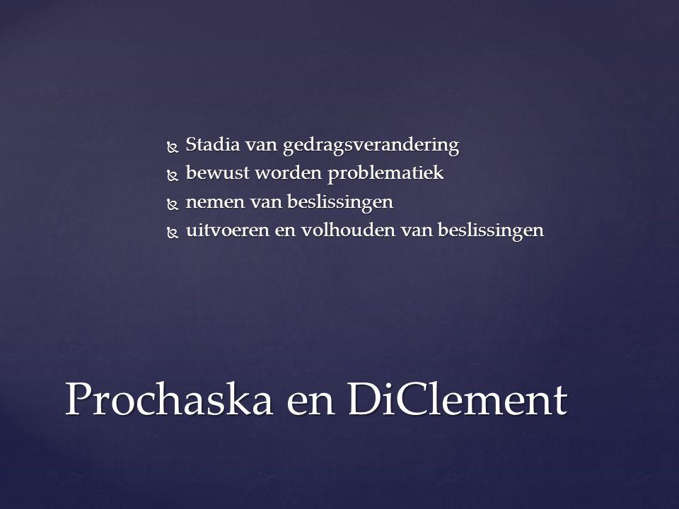  Stadia van gedragsverandering  bewust worden problematiek  nemen van beslissingen  uitvoeren en volhouden van beslissingen Prochaska en DiClement