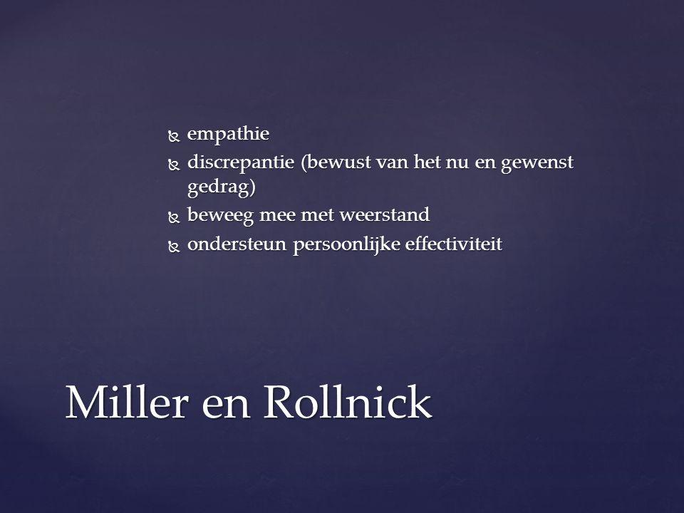  empathie  discrepantie (bewust van het nu en gewenst gedrag)  beweeg mee met weerstand  ondersteun persoonlijke effectiviteit Miller en Rollnick
