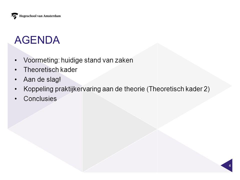 AGENDA Voormeting: huidige stand van zaken Theoretisch kader Aan de slag! Koppeling praktijkervaring aan de theorie (Theoretisch kader 2) Conclusies 4
