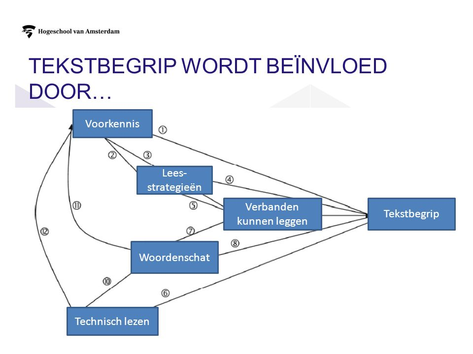 ZES VARIABELEN DIE IN DE TOETSEN GEMETEN WORDEN 1)Tekstbegrip: wat de lezer geleerd heeft van de tekst 2)Voorkennis 3)Verbanden kunnen leggen 1.