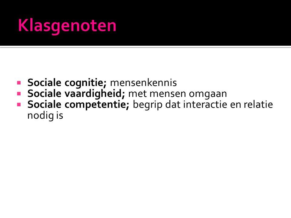  Sociale cognitie; mensenkennis  Sociale vaardigheid; met mensen omgaan  Sociale competentie; begrip dat interactie en relatie nodig is
