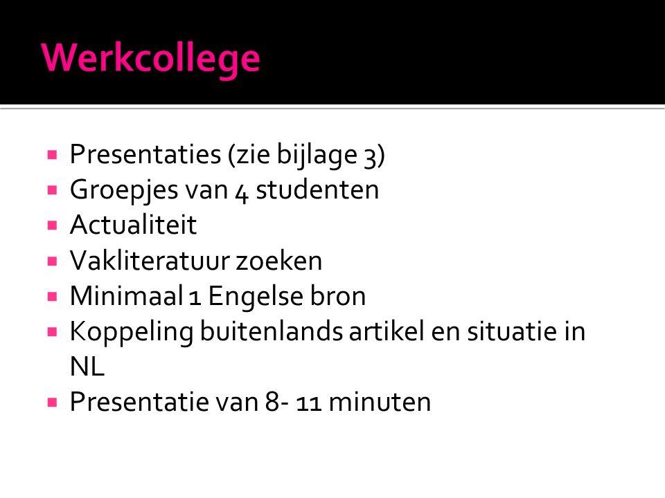  Presentaties (zie bijlage 3)  Groepjes van 4 studenten  Actualiteit  Vakliteratuur zoeken  Minimaal 1 Engelse bron  Koppeling buitenlands artikel en situatie in NL  Presentatie van 8- 11 minuten