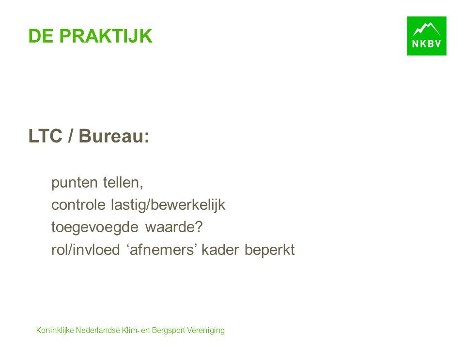 Koninklijke Nederlandse Klim- en Bergsport Vereniging DE PRAKTIJK LTC / Bureau: punten tellen, controle lastig/bewerkelijk toegevoegde waarde.