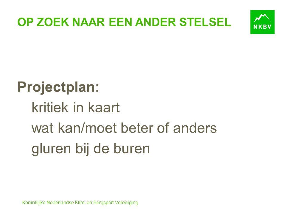 Koninklijke Nederlandse Klim- en Bergsport Vereniging OP ZOEK NAAR EEN ANDER STELSEL Projectplan: kritiek in kaart wat kan/moet beter of anders gluren bij de buren