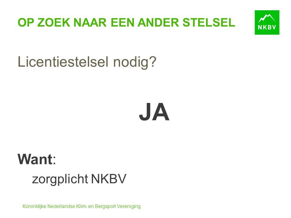 Koninklijke Nederlandse Klim- en Bergsport Vereniging OP ZOEK NAAR EEN ANDER STELSEL Licentiestelsel nodig.