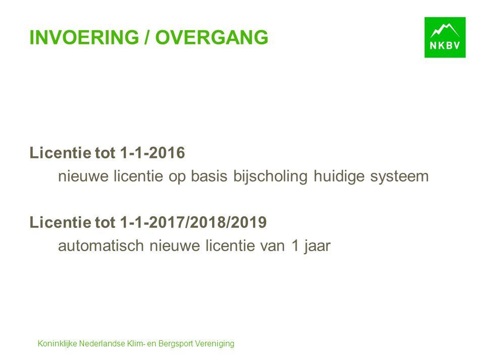 Koninklijke Nederlandse Klim- en Bergsport Vereniging INVOERING / OVERGANG Licentie tot 1-1-2016 nieuwe licentie op basis bijscholing huidige systeem Licentie tot 1-1-2017/2018/2019 automatisch nieuwe licentie van 1 jaar