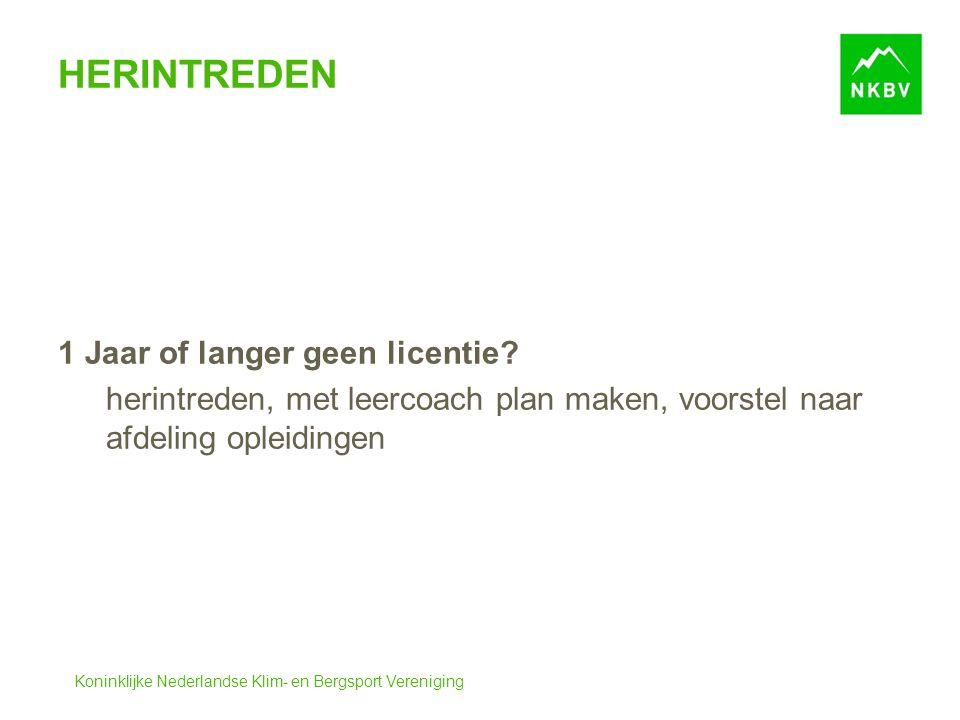Koninklijke Nederlandse Klim- en Bergsport Vereniging HERINTREDEN 1 Jaar of langer geen licentie? herintreden, met leercoach plan maken, voorstel naar