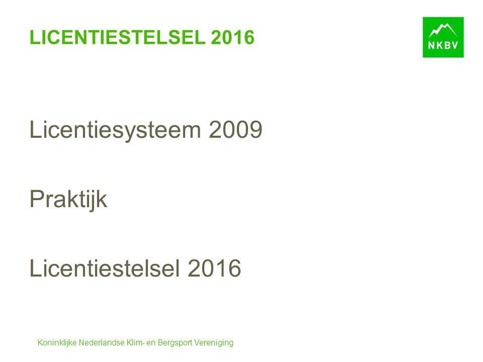 Koninklijke Nederlandse Klim- en Bergsport Vereniging LICENTIESTELSEL 2016 Licentiesysteem 2009 Praktijk Licentiestelsel 2016