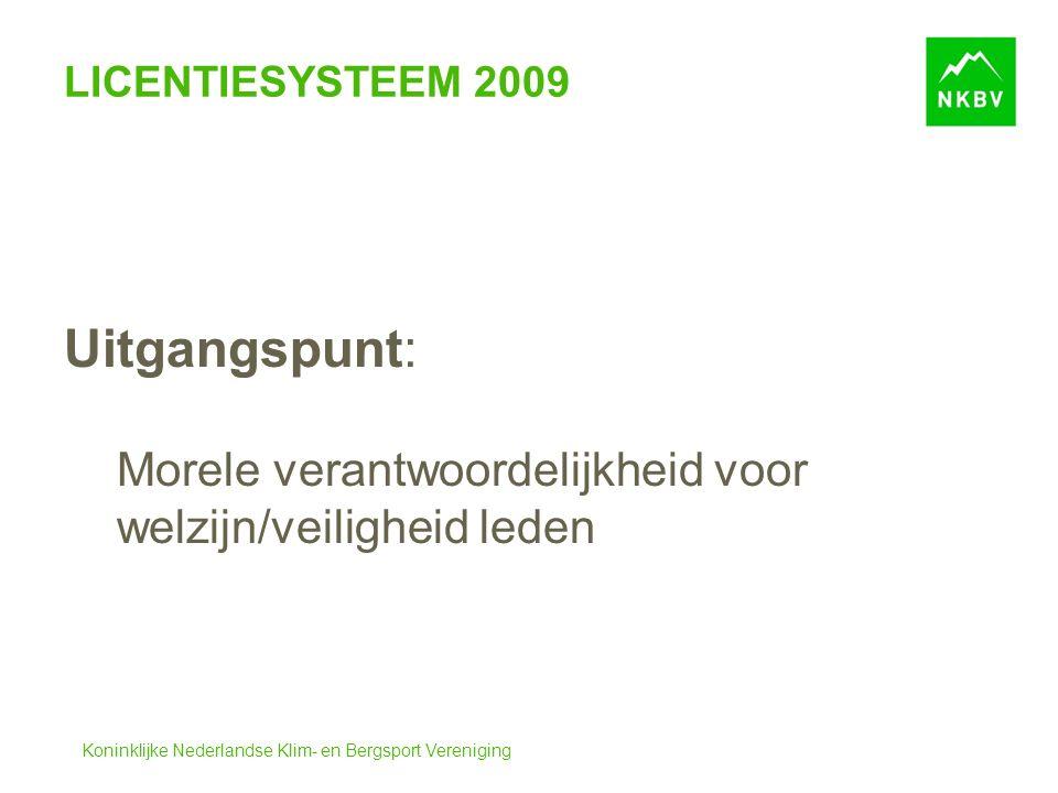 Koninklijke Nederlandse Klim- en Bergsport Vereniging LICENTIESYSTEEM 2009 Uitgangspunt: Morele verantwoordelijkheid voor welzijn/veiligheid leden