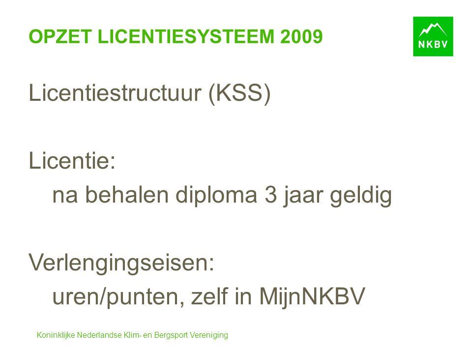 Koninklijke Nederlandse Klim- en Bergsport Vereniging OPZET LICENTIESYSTEEM 2009 Licentiestructuur (KSS) Licentie: na behalen diploma3 jaar geldig Verlengingseisen: uren/punten, zelf in MijnNKBV